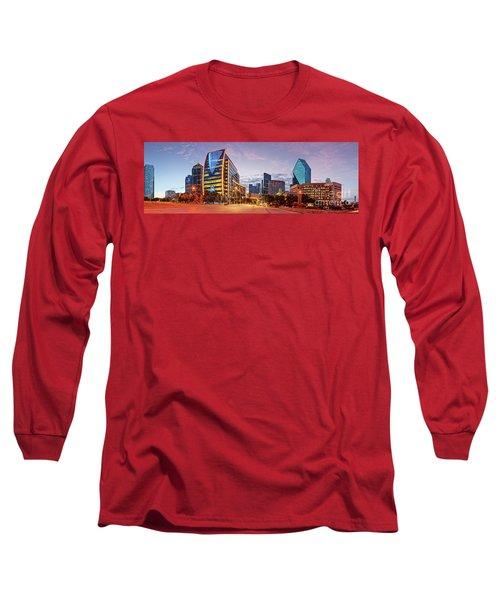 Twilight Panorama Of Downtown Dallas Skyline - North Akard Street Dallas Texas Long Sleeve T-Shirt