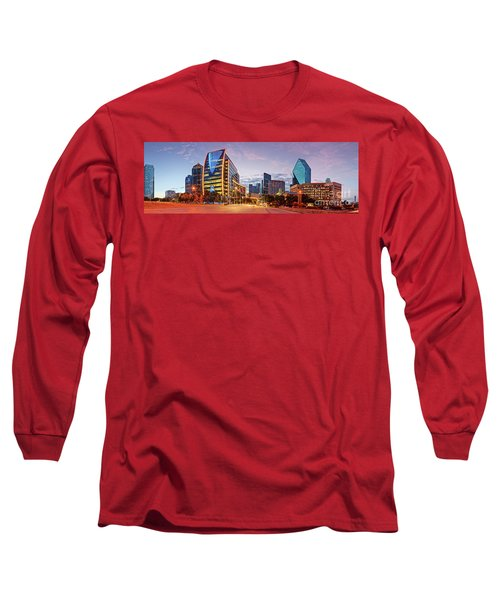 Twilight Panorama Of Downtown Dallas Skyline - North Akard Street Dallas Texas Long Sleeve T-Shirt