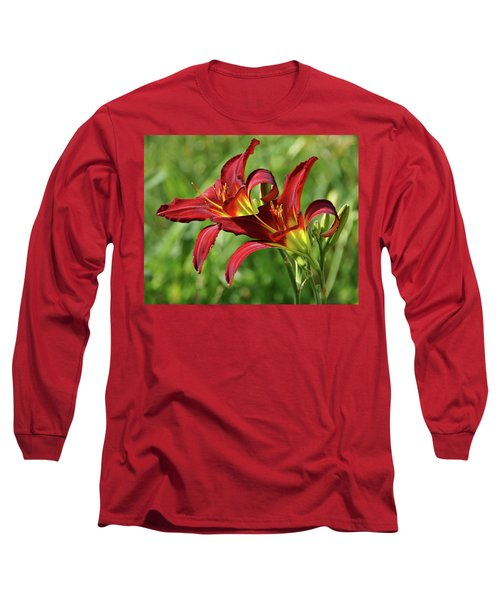Long Sleeve T-Shirt featuring the photograph Twin Daylilies by Sandy Keeton