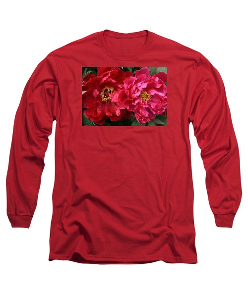 Twin Peonies Long Sleeve T-Shirt by Bruce Bley