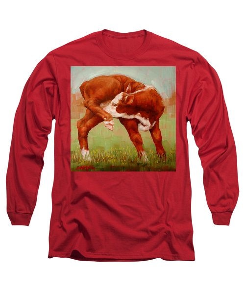 Long Sleeve T-Shirt featuring the painting Twisted Calf by Margaret Stockdale