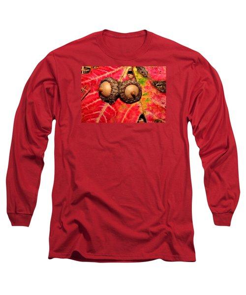Two Acorns On Tatterd Maple Leaf 2 Long Sleeve T-Shirt