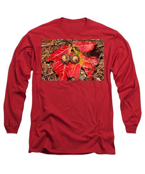 Two Acorns On Tatterd Maple Leaf Long Sleeve T-Shirt
