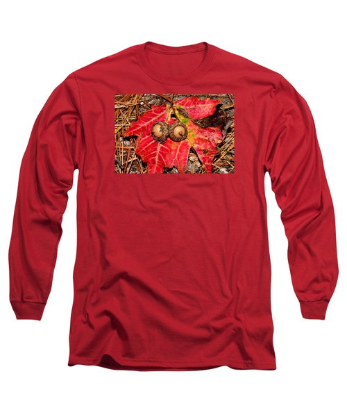 Two Acorns On Tatterd Maple Leaf Long Sleeve T-Shirt