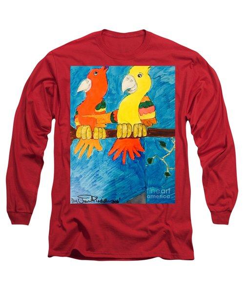 Two Double Yelloe Headed Birds Long Sleeve T-Shirt