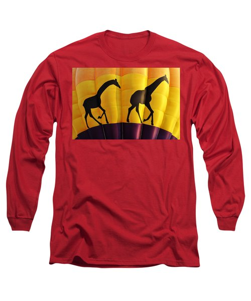 Two Giraffes Riding On A Hot Air Balloon Long Sleeve T-Shirt