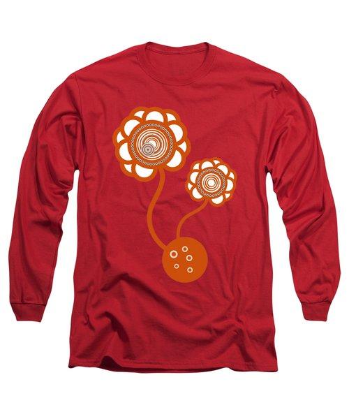 Two Orange Flowers Long Sleeve T-Shirt