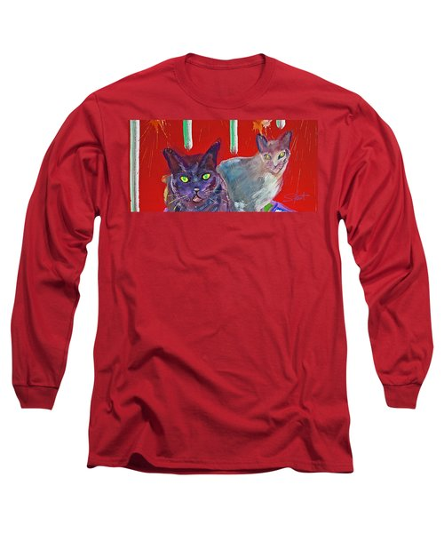 Two Posh Cats Long Sleeve T-Shirt by Charles Stuart