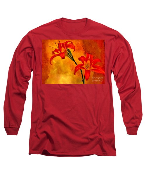 Long Sleeve T-Shirt featuring the digital art Two Tigerlilies by Marsha Heiken
