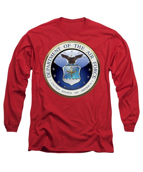 U. S.  Air Force  -  U S A F Emblem Over Red Velvet Long Sleeve T-Shirt by Serge Averbukh