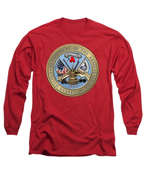 U. S. Army Seal Over Red Velvet Long Sleeve T-Shirt