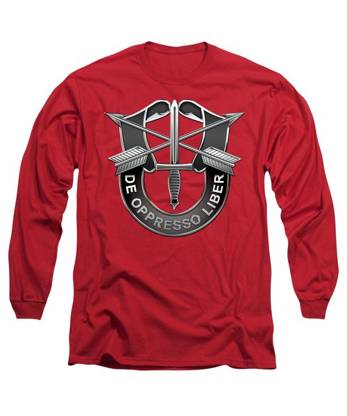 U. S.  Army Special Forces  -  Green Berets D U I Over Red Velvet Long Sleeve T-Shirt