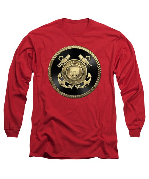 U. S.  Coast Guard  -  U S C G Emblem Black Edition Over Red Velvet Long Sleeve T-Shirt