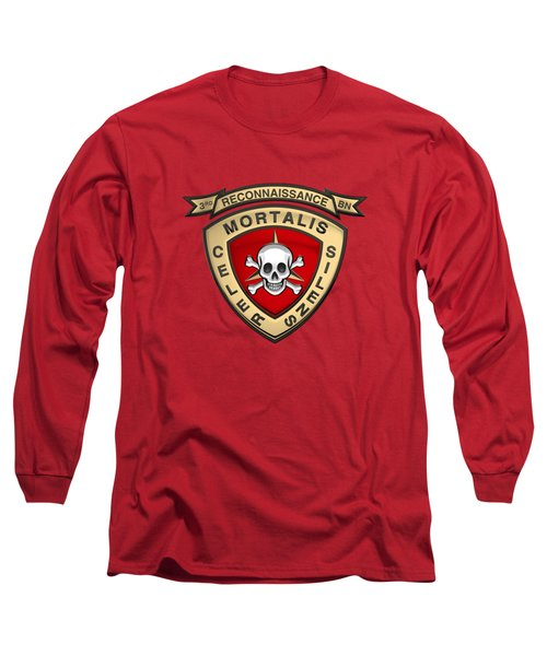 U S M C  3rd Reconnaissance Battalion -  3rd Recon Bn Insignia Over Red Velvet Long Sleeve T-Shirt