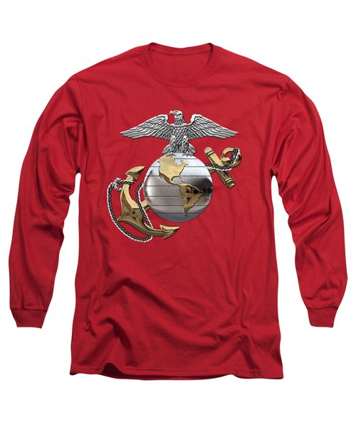 U S M C Eagle Globe And Anchor - C O And Warrant Officer E G A Over Red Velvet Long Sleeve T-Shirt