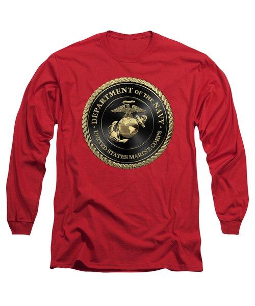 U S M C Emblem Black Edition Over Red Velvet Long Sleeve T-Shirt