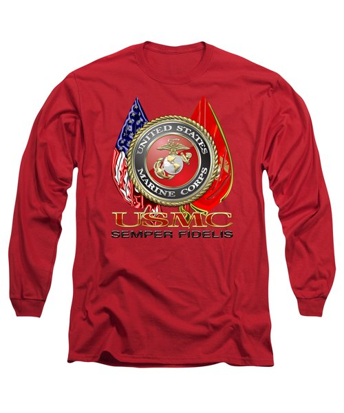 U. S. Marine Corps U S M C Emblem On Red Long Sleeve T-Shirt by Serge Averbukh