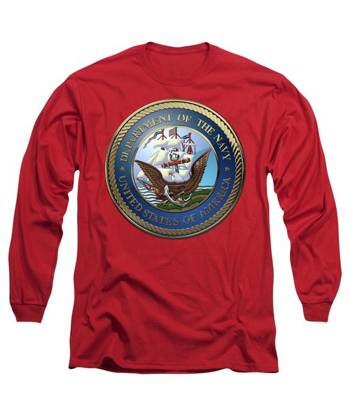 U. S.  Navy  -  U S N Emblem Over Red Velvet Long Sleeve T-Shirt by Serge Averbukh
