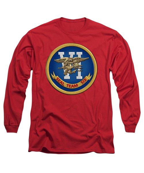 U. S. Navy S E A Ls - S E A L Team Six  -  S T 6  Patch Over Red Velvet Long Sleeve T-Shirt