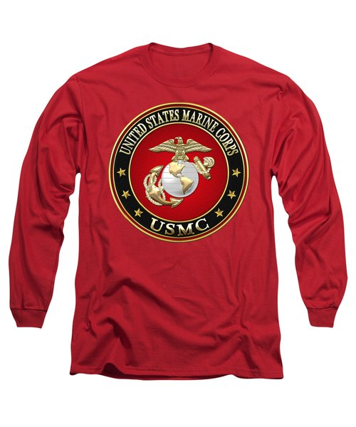 U S M C Eagle Globe And Anchor - E G A On Red Velvet Long Sleeve T-Shirt