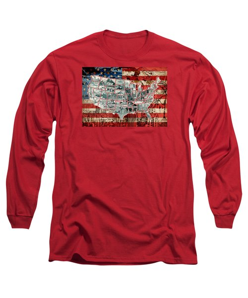 United States Drawing Collage Map 6 Long Sleeve T-Shirt