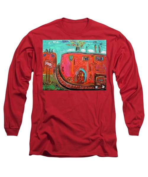 Long Sleeve T-Shirt featuring the painting Usa Steel Still Fascinates by Mary Carol Williams
