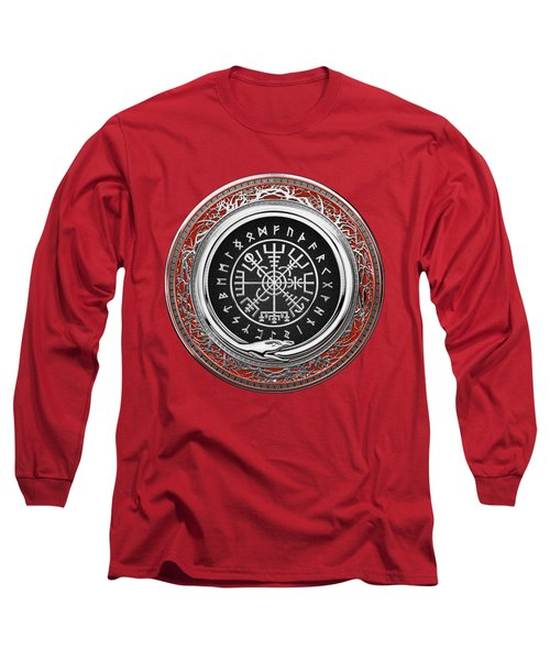 Vegvisir - A Silver Magic Viking Runic Compass On Red Leather  Long Sleeve T-Shirt