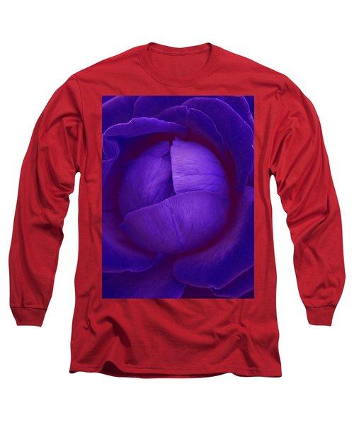 Velvet Blue Lettuce Rose Long Sleeve T-Shirt by Samantha Thome