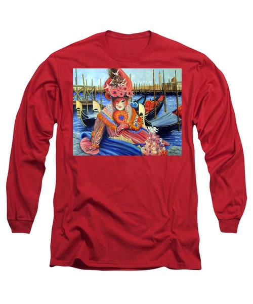 Venetian Carneval Mask With Bird Cage Long Sleeve T-Shirt