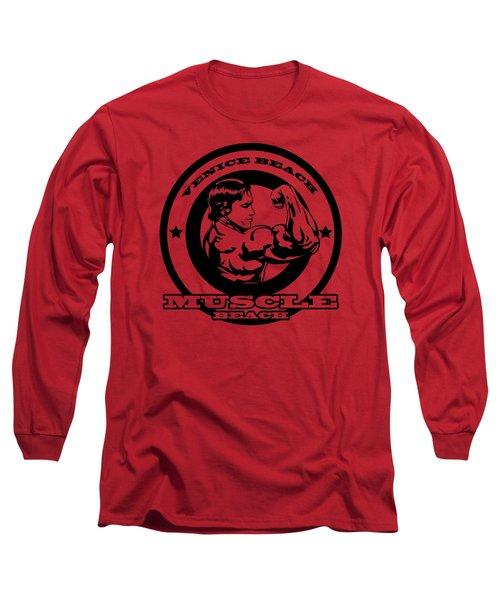 Venice Beach Arnold Muscle Long Sleeve T-Shirt by Alex Soro