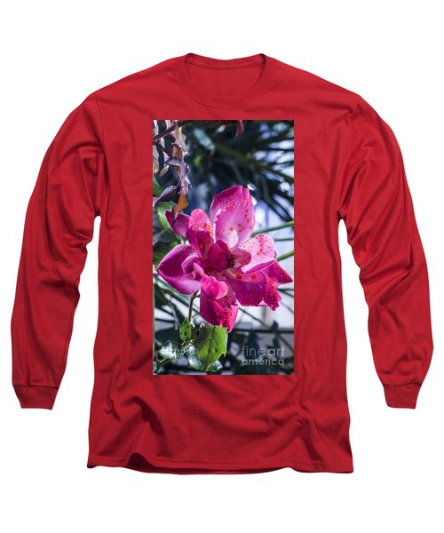 Vibrant Pink Rose Long Sleeve T-Shirt