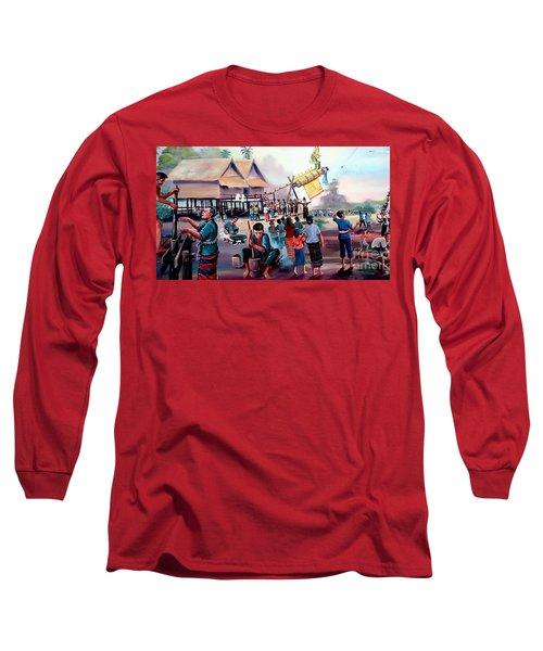 Village Rocket Festival-vintage Painting Long Sleeve T-Shirt