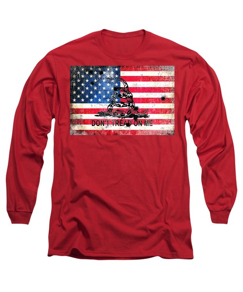 Viper N Bullet Holes On Old Glory Long Sleeve T-Shirt by M L C