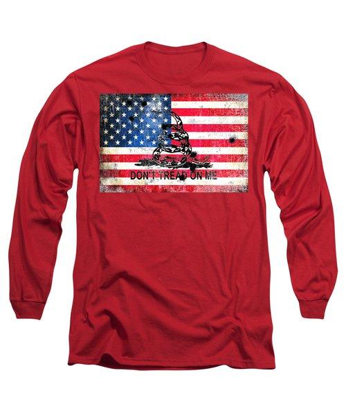 Viper N Bullet Holes On Old Glory Long Sleeve T-Shirt