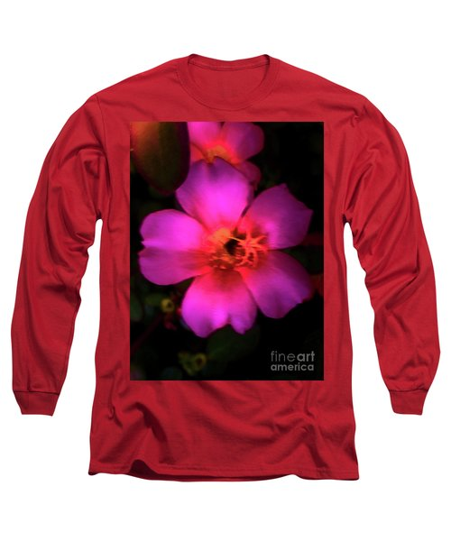 Vivid Rich Pink Flower Long Sleeve T-Shirt