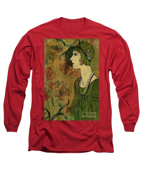 Long Sleeve T-Shirt featuring the painting Vogue Twenties by P J Lewis