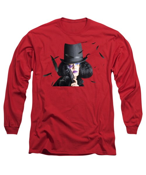 Vogue Woman In Black Costume Long Sleeve T-Shirt by Jorgo Photography - Wall Art Gallery