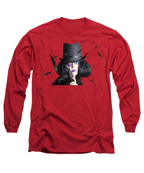 Vogue Woman In Black Costume Long Sleeve T-Shirt