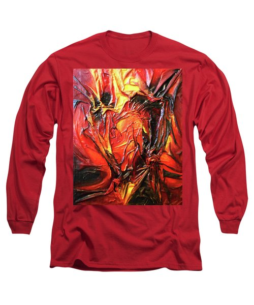 Long Sleeve T-Shirt featuring the mixed media Volcanic Fire by Angela Stout