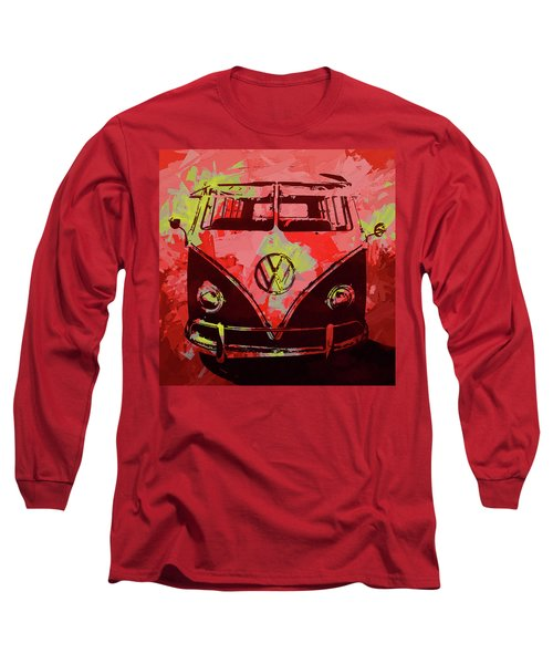 Volkswagen Bus Pop Red Long Sleeve T-Shirt