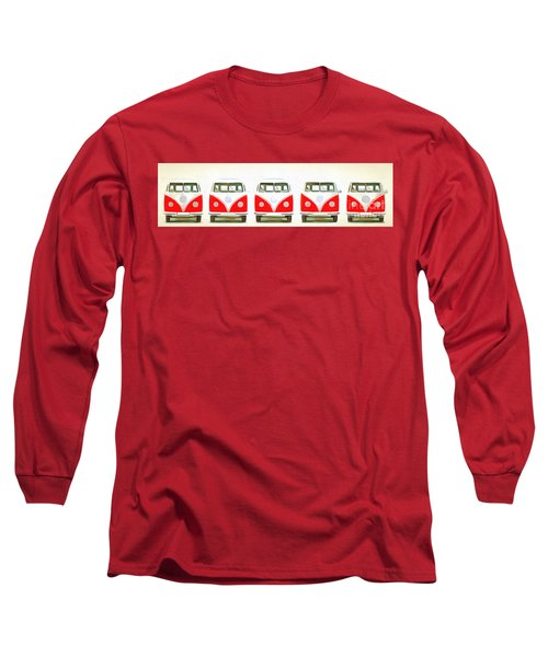 Retro Bus Line Up Painting Long Sleeve T-Shirt