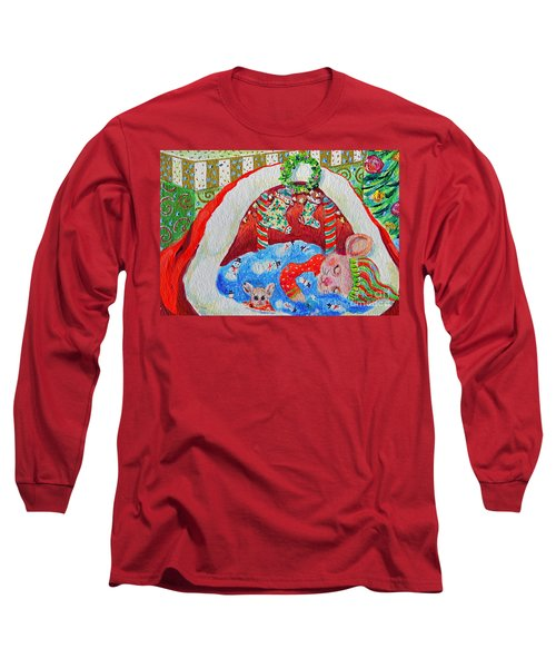 Long Sleeve T-Shirt featuring the painting Waiting For Santa by Li Newton