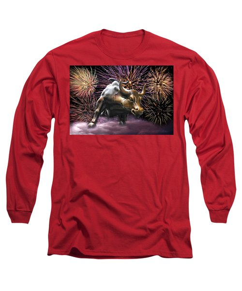 Wall Street Bull Fireworks Long Sleeve T-Shirt