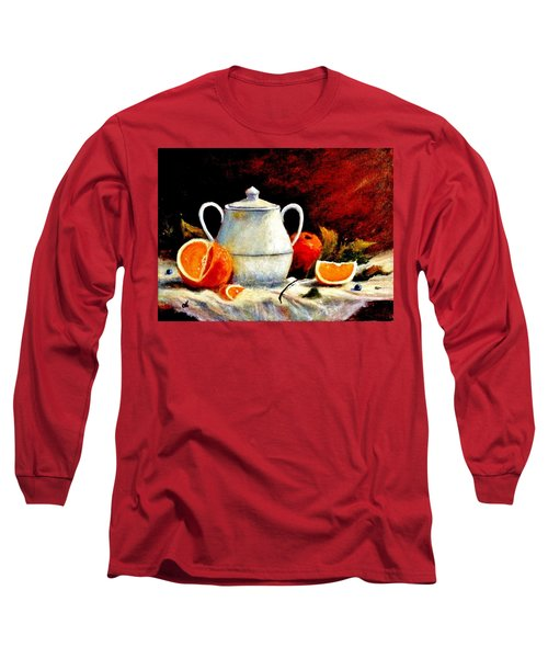 Long Sleeve T-Shirt featuring the painting Warm Light by Cristina Mihailescu