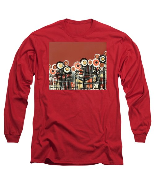 Warm Red Flowers Long Sleeve T-Shirt