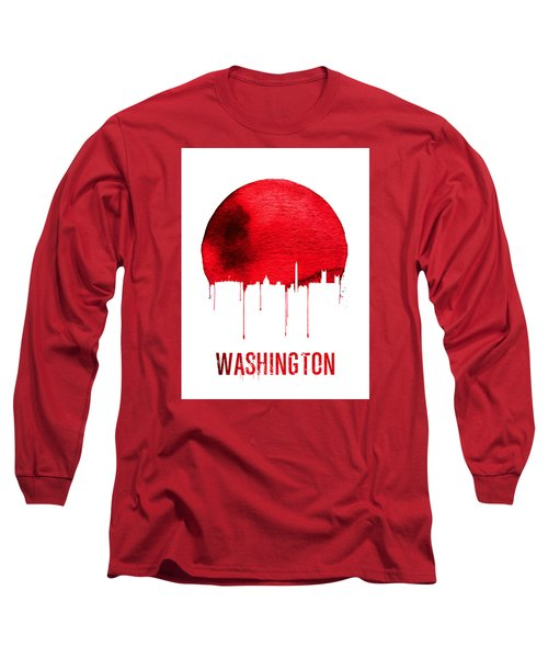 Washington Skyline Red Long Sleeve T-Shirt by Naxart Studio