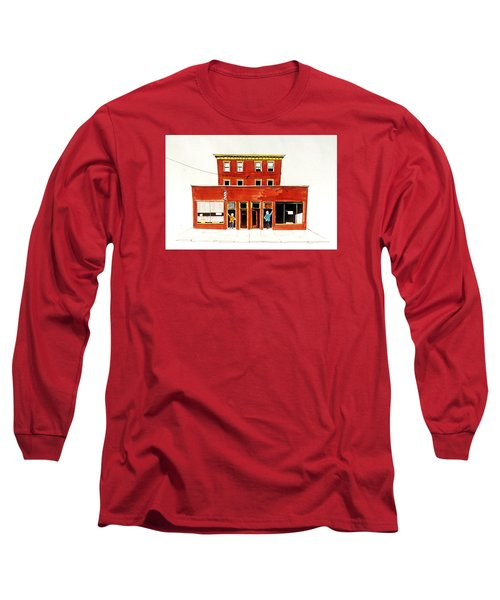 Washington Street Barbers Long Sleeve T-Shirt by William Renzulli