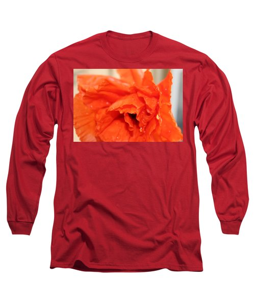 Water On Orange Long Sleeve T-Shirt by Christin Brodie