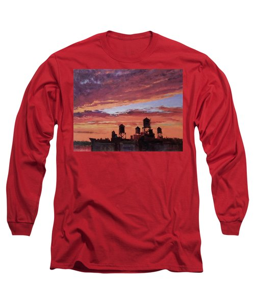 Water Towers At Sunset No. 4 Long Sleeve T-Shirt