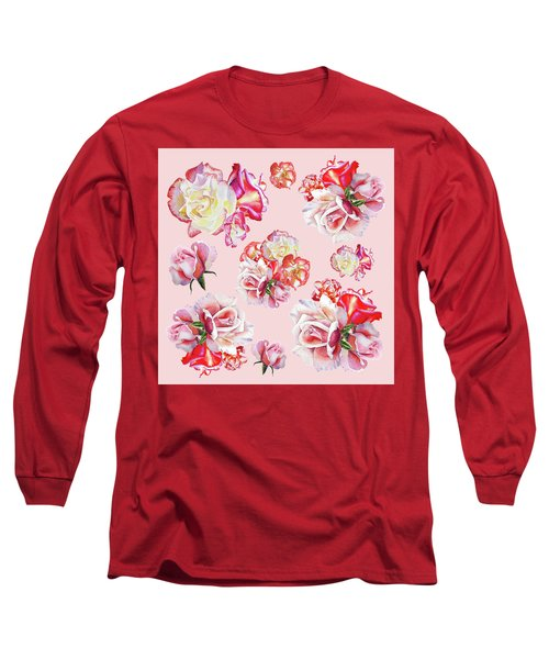 Long Sleeve T-Shirt featuring the painting Watercolor Roses Pink Dance by Irina Sztukowski